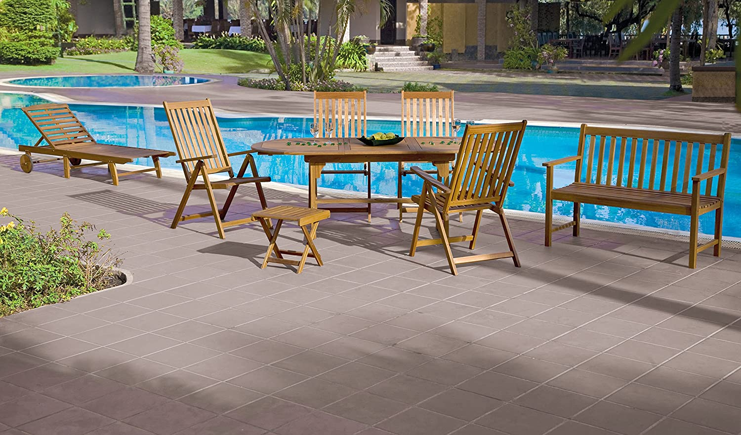 Landmann 61910 Summer Arm, Bench, Lounge Chair and Table Patio Set