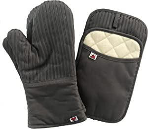 Big Red House Oven Mitts and Pot Holders Sets, with The Heat Resistance of Silicone and Flexibility of Cotton, Recycled Cotton Infill, Terrycloth Lining, 480 F Heat Resistant Pair Grey