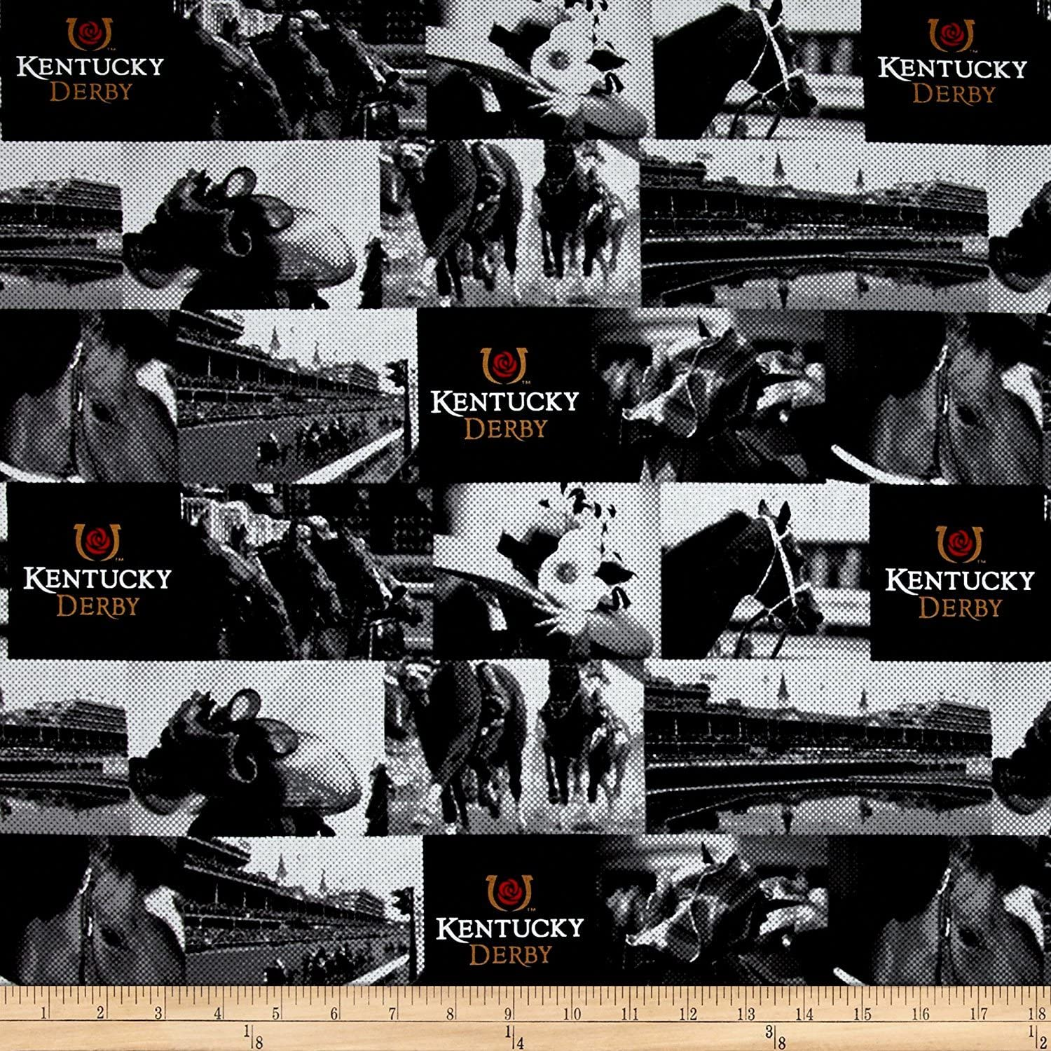 Kentucky Derby A Day at the Races Black Fabric By The Yard