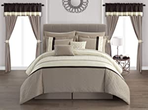 Chic Home Katrin 20 Piece Comforter Color Block Geometric Embroidered Bag Bedding-Sheet Set Pillowcases Window Treatments Decorative Pillows Shams Included, Queen, Beige