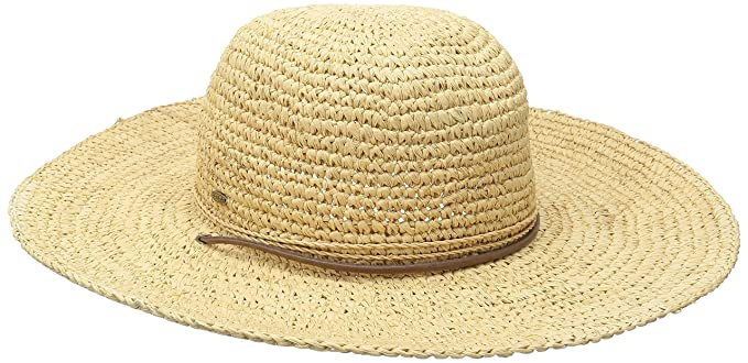 5cc87118638 SCALA Women s Big Brim Raffia Hat with Leather Chin Cord