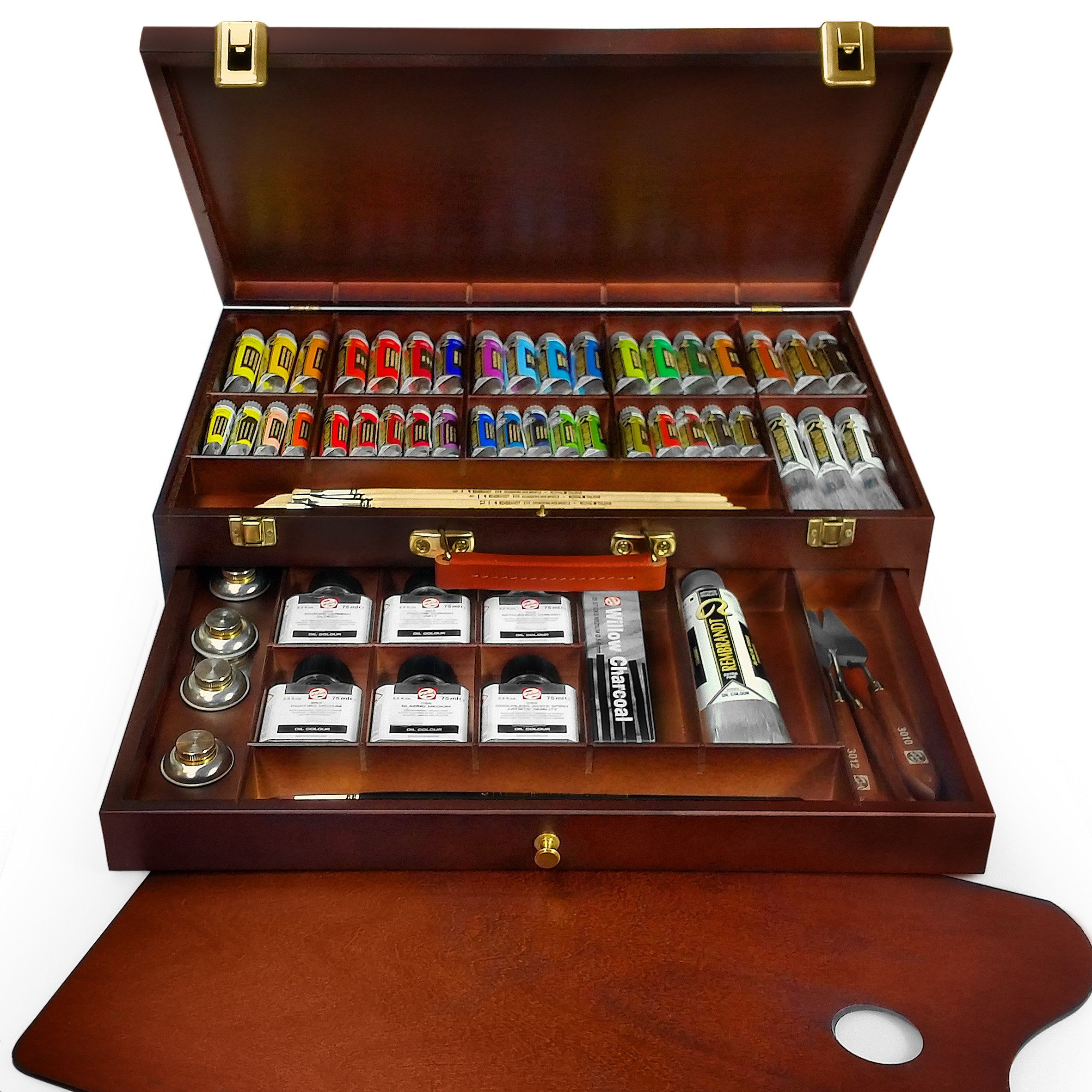 Royal Talens - Rembrandt Oil Colour Box - 'Excellent' Edition in Wooden Chest - With Paints, Palette, and Brushes