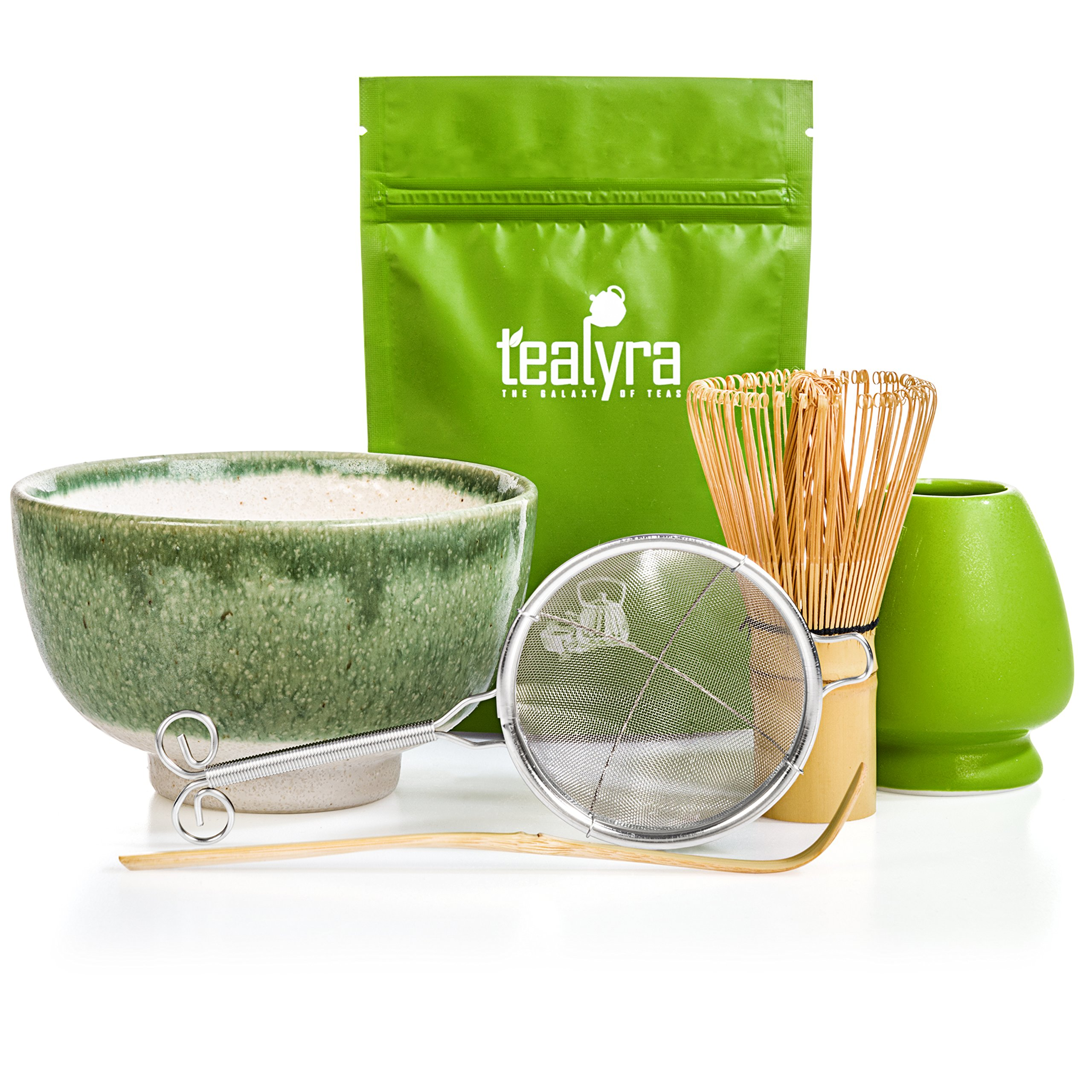 Tealyra - Matcha Tea Ceremony Start Up Kit - Complete Matcha Green Tea Gift Set - Premium Matcha Powder - Japanese Made Green Bowl - Bamboo Whisk and Scoop - Holder - Sifter - Gift Box