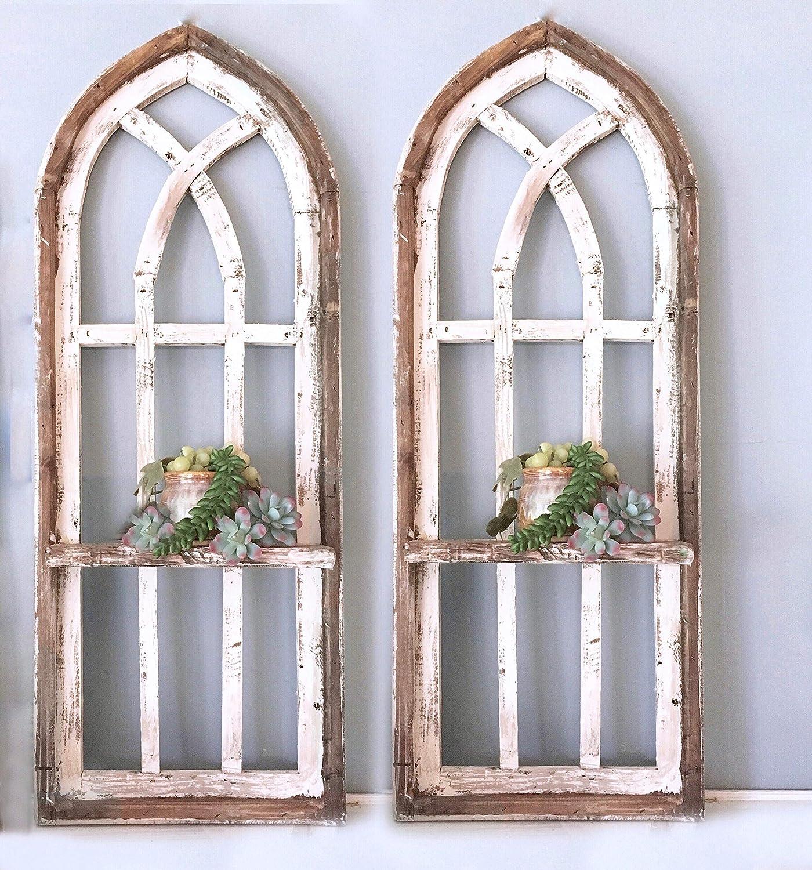 2 Cathedral arch window frames, Shelf, 36 inch Farmhouse cottage decor, Cathedral window frame, chippy paint, Wall decor, Farmhouse wall, Window frame 91vCZEmyOxL._SL1500_