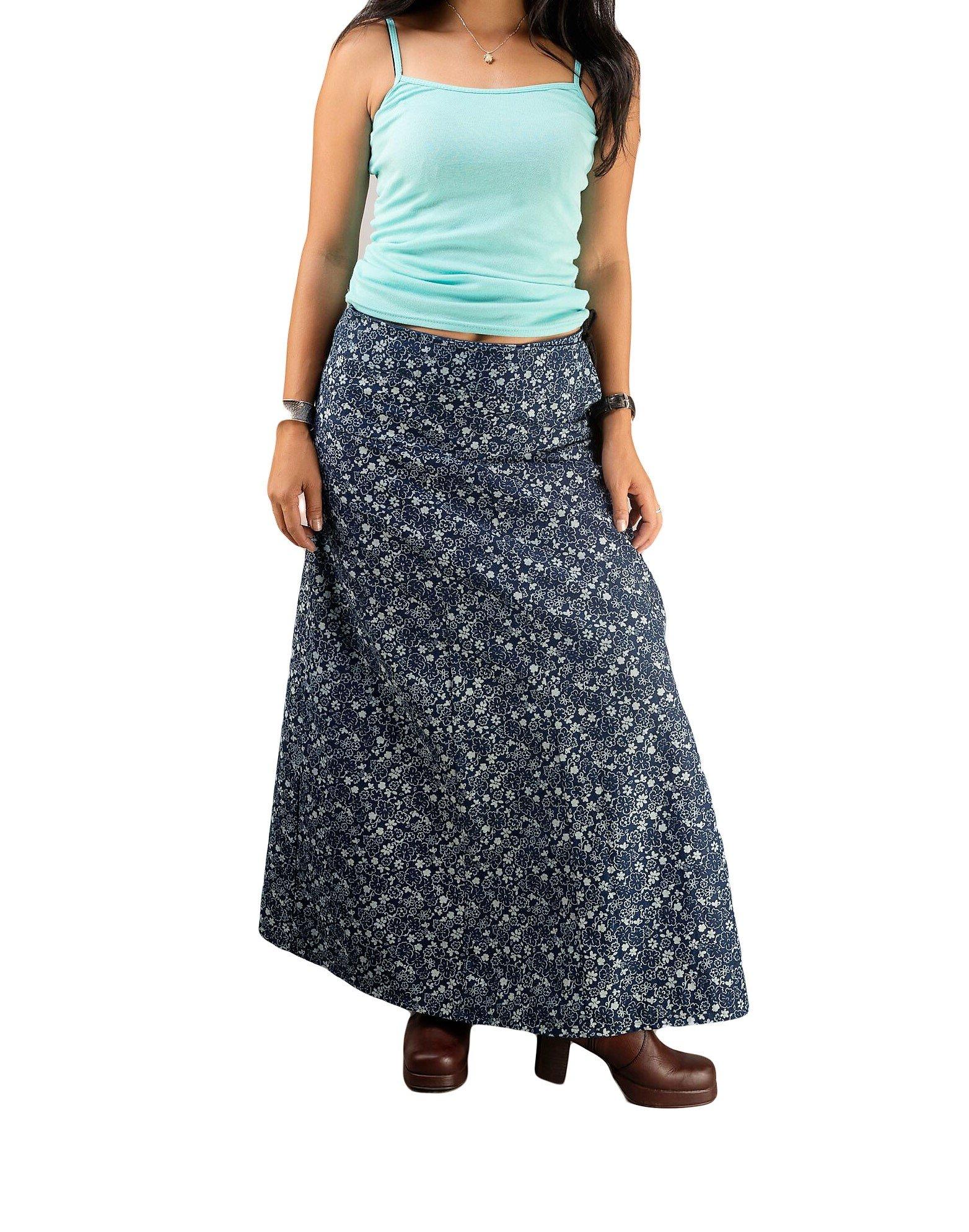 Womens A-line Cotton Wrap Skirt Floral Maxi Long Soft Indigo Navy Sarong Smart Casual Loose