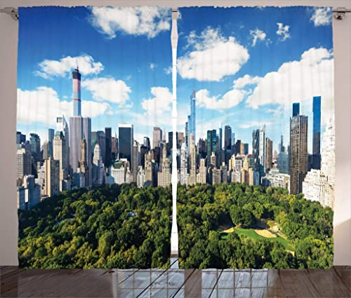 Ambesonne NYC Curtains, Central Park View to Manhattan at Sunny Day Skyline with Clouds Crowded Cityscape Image, Living Room Bedroom Window Drapes 2 Panel Set, 108 X 90 , Multicolor