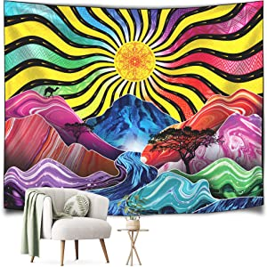 TEDERR Trippy Tapestry - Psychedelic Colorful Sun, Mountains, River and Trees - Room Decor Tapastry's Wall Hanging - Hippie Tapestry Nature Landscape - Transmits Good Vibes (Medium Size)…