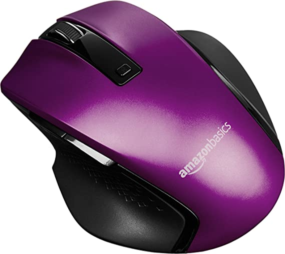 AmazonBasics Compact Ergonomic Wireless PC Mouse with Fast Scrolling – Purple