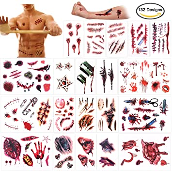 Howaf Halloween Tatuajes temporales (20 Hojas), Halloween Zombie ...