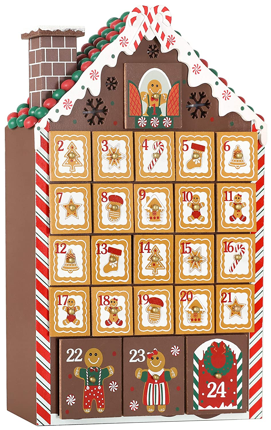 BRUBAKER Advent Calendar - Wooden Gingerbread House with 4 LED Lights - 10.3 x 17.7 x 2.1 inches