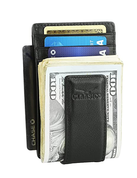 9e0dc848efb7 Money Clip Leather Wallet For Men Slim Front Pocket RFID Blocking Card  Holder With Super Strong