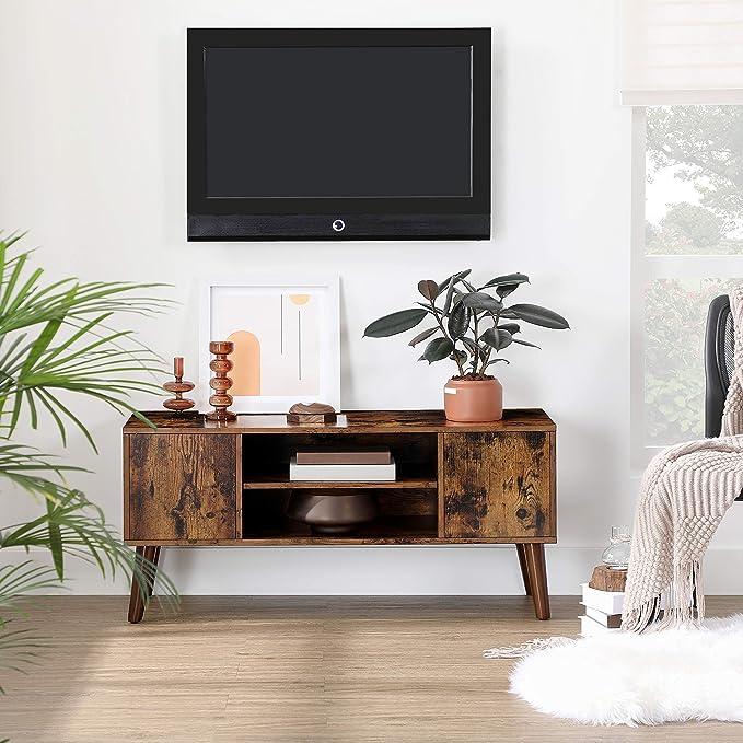 avec /étag/ères de Rangement Support TV pour t/él/évision jusqu/à 70 Pouces Chambre Cadre en Acier Table de Salon Marron Rustique et Noir LTV095B01 VASAGLE Meuble TV pour Salon