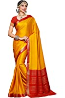 Mimosa Women's Crepe Saree With Blouse Piece (2113-Gld-Rd,Gold,Free Size)