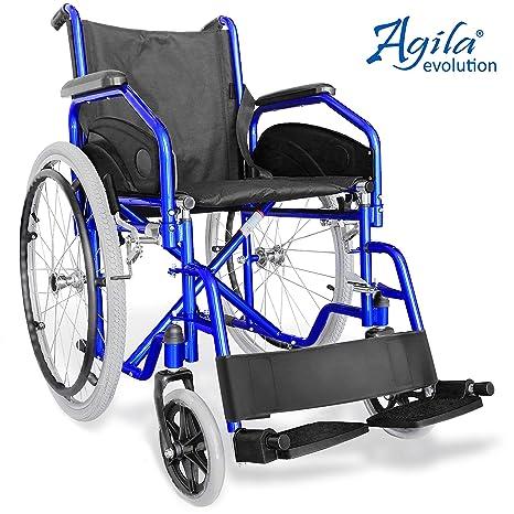 AIESI Silla de Ruedas plegable ligera con autopropulsión para discapacitados y mayores AGILA EVOLUTION ✔ Reposabrazos y Reposapiés extraíble ✔ ...