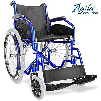 Aiesi Sedia A Rotelle Pieghevole Leggera Ad Autospinta Carrozzina Per Disabili Ed Anziani Agila Evolution Braccioli E Poggiapiedi Estraibili