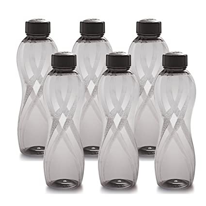 Cello Twisty PET Bottle Set, 1000ml, Set of 6, Black