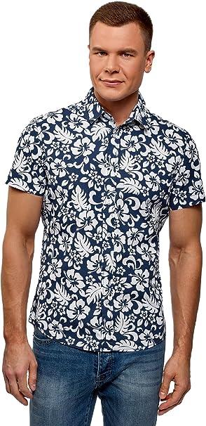 oodji Ultra Hombre Camisa Entallada con Estampado Floral, Azul, сm 45, 5 / ES 58 / XXL: Amazon.es: Ropa y accesorios
