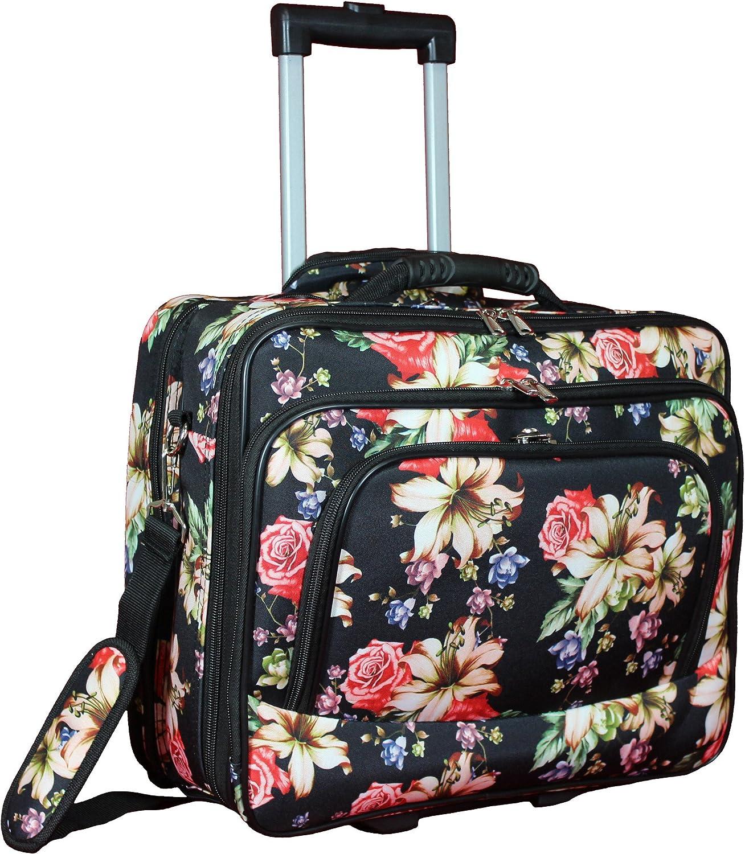 "World Traveler Women's Fashion Print Rolling 17"" Laptop Case-Rose Lily, One Size"