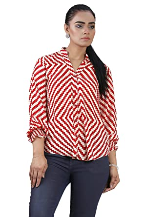 ebf0090af Red and Cream Zig Zag Printed Dress Shirt at Amazon Women s Clothing ...