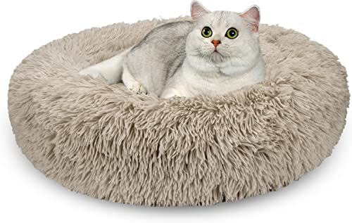 AIPERRO Pet Bed for Small Dogs and Cats Donut Cuddler Fur Round Dog Bed Soft Plush Fluffy Indoor Calming Cat Bed, Anti Slip Bottom, 20 23 30 Inch for Puppy and Kitties