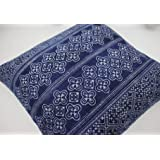 """18"""" x 18"""" Square Throw Pillow Cover made from Hmong Indigo Batik Hand Woven and Printed"""