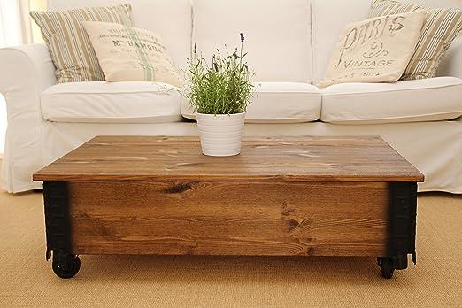 Mesa baja auxiliar de nogal en madera maciza Shabby Chic estilo ...