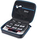 Supremery Nintendo 2DS Case Hülle mit Netztasche, Reißverschluss und Karabinerhaken - Wasserabweisend in Blau/Schwarz