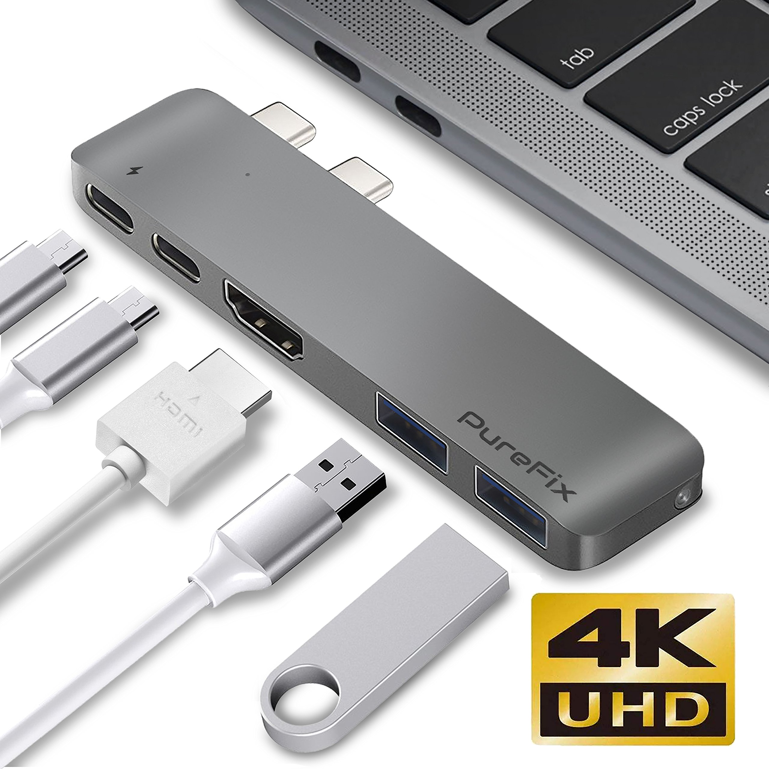 USB C Hub Adapter Dongle for MacBook Air 2018, MacBook Pro 2019/2018/2017/2016, Ultra Slim Type C Hub with 4K HDMI Out, 100W Power Delivery, 40Gbps Thunderbolt 3 5K@60Hz and 2 USB 3.1 (Space Gray) by Purefix