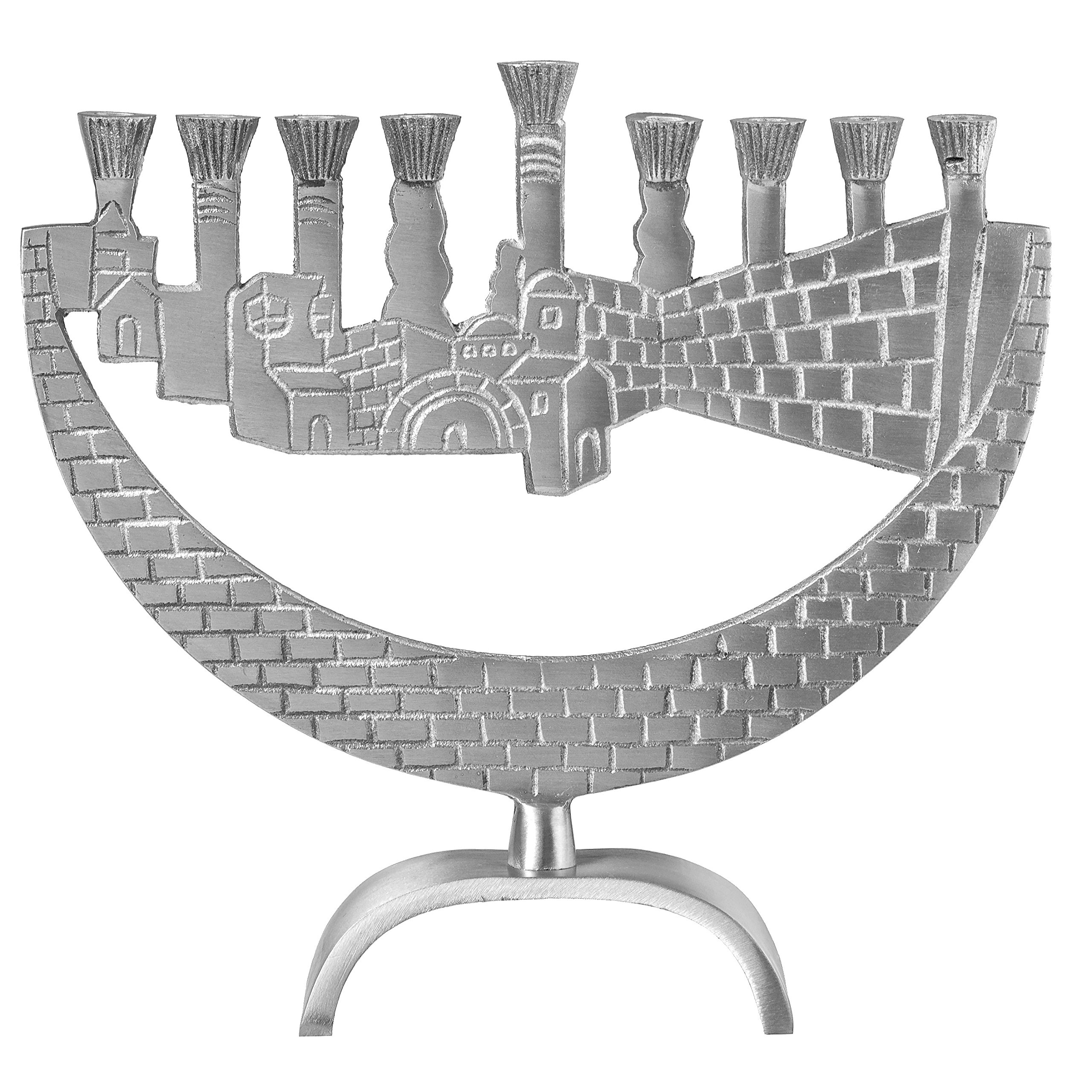 Ner Mitzvah Artistic Aluminum Candle Menorah - Fits All Standard Chanukah Candles - Jerusalem and Western Wall Design