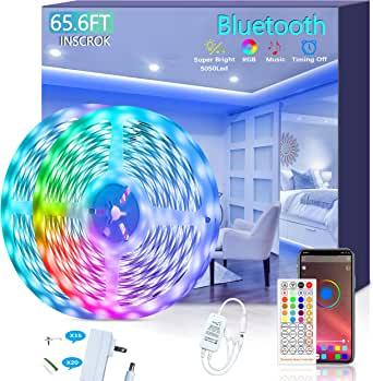 Bluetooth LED Strip Lights 20m - Music Sync LED Light Strip Controlled by Smart light for Phone APP -600 beads led lights music sync led lights strip for bedroom 20 metre LED Stripe Lights 65.6ft 600LEDs RGB Strip Lights Full Kit with UL Listed Adapter Remote Controller