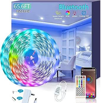 Bluetooth LED Strip Lights 65.6FT - Inscrok LED Light Strips Controlled by Smart Phone APP - Music Sync LED Lights Strip for Bedroom Decor, Room Decor,Children's Room