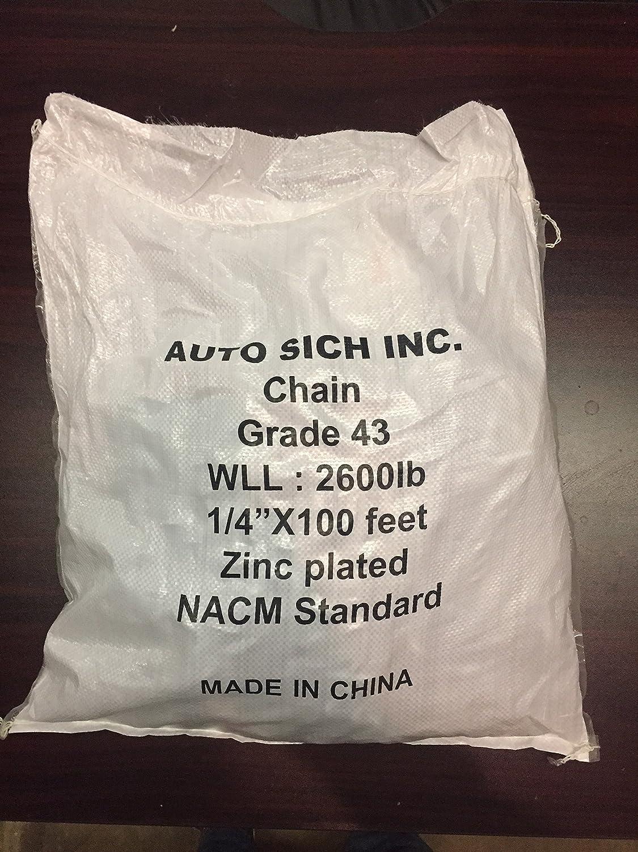 1//4 x 100 Length Grade 43 Carbon Steel 2600 lb Load Capacity Zinc plated
