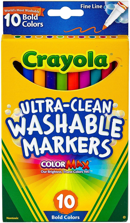 Crayola 10 Ct Ultra-Clean Fineline Bold Markers Binney /& Smith 58-7854