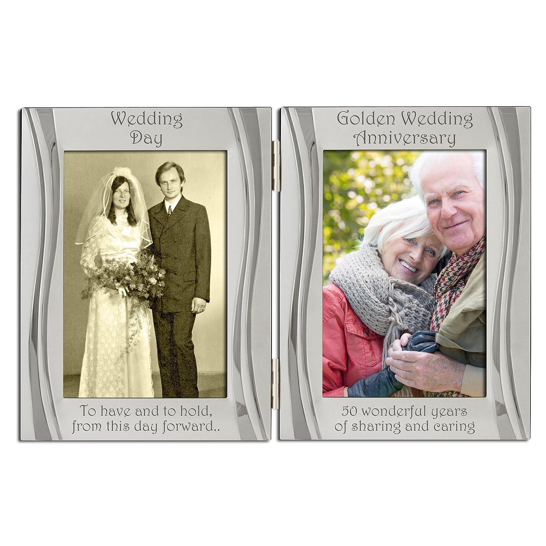 Amazon.de: Golden 50. Hochzeitstag, versilbert, Samt, Doppel ...