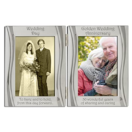Golden 50th Wedding Anniversary Silver Plated Velvet Backed