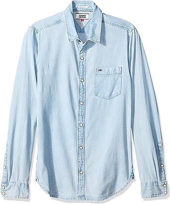 Tommy Jeans - Camisa Casual - Manga Corta - para Hombre Azul Celeste XS: Amazon.es: Ropa y accesorios