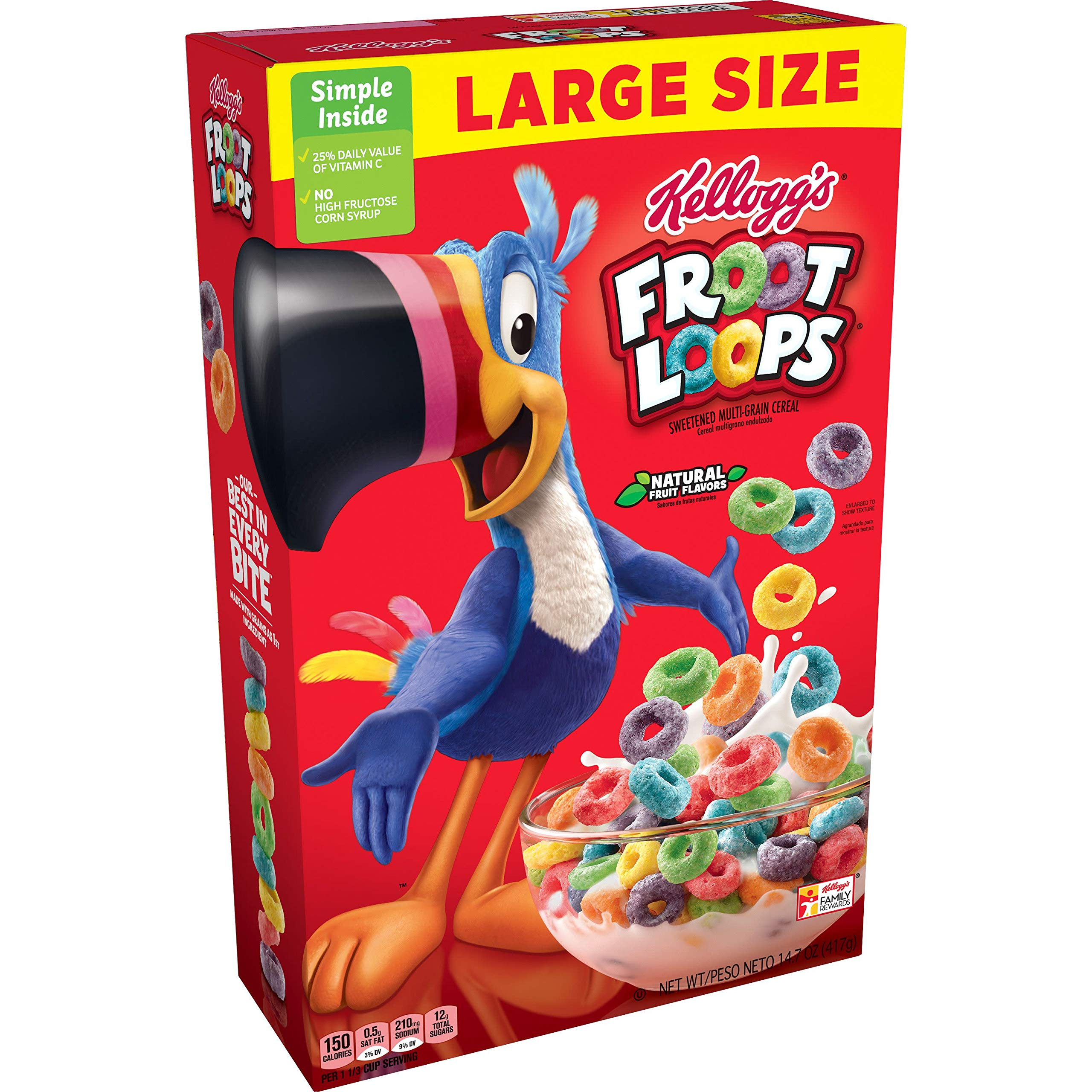 Kellogg's Froot Loops, Breakfast Cereal, Original, Excellent Source of Vitamin C, Large Size, 14.7oz Box