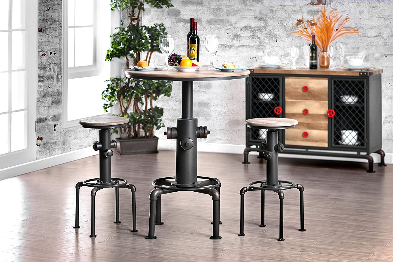 HOMES Inside Out IDF-3367BT Antique Black Grant Industrial Bar Table