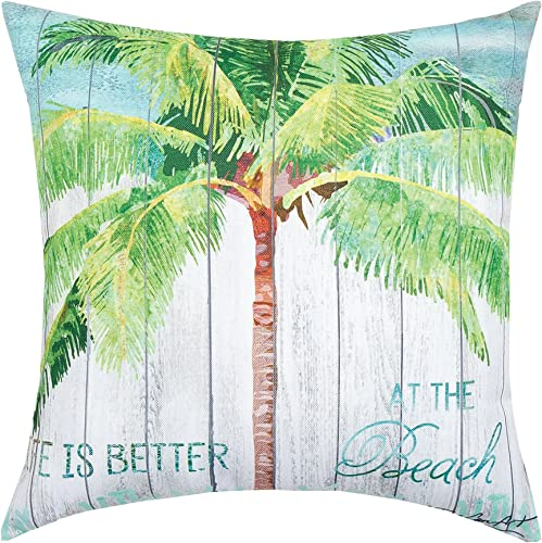 C F Home at The Beach Premium Indoor Outdoor Decorative Accent Throw Pillow 18 x 18 Green
