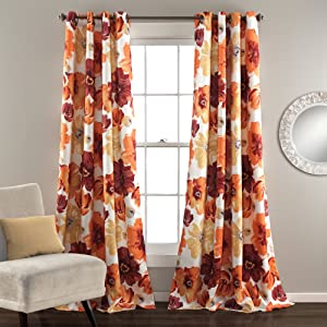 "Lush Decor Leah Floral Room Darkening Window Panel Curtain Set for Living, Dining, Bedroom (Pair), 84"" x 52"" Red and Orange"