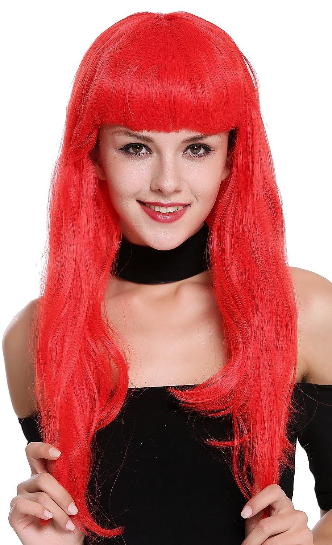 WIG ME UP ® - 90649-EZA13 Peluca Mujer Carnaval Halloween Rojo Años 50 Burlesque Pin-Up Flequillo: Amazon.es: Juguetes y juegos