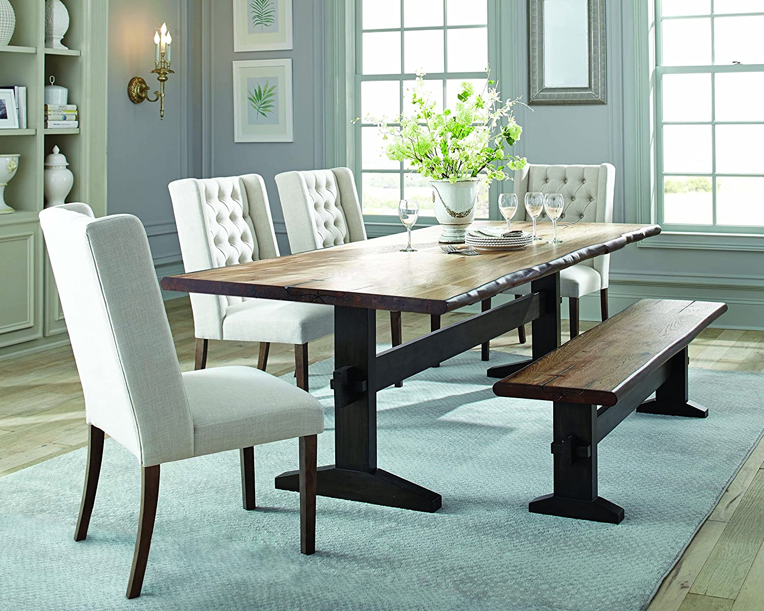 Burnham Two-Tone Live Edge Dining Bench with Trestle Base Natural Honey and Espresso