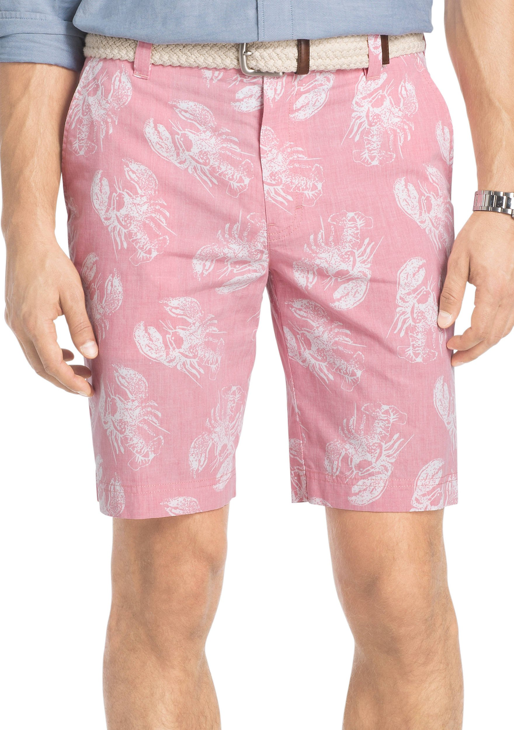 IZOD Men's Big and Tall Flat Front Printed Short, Rapture Rose, 50W