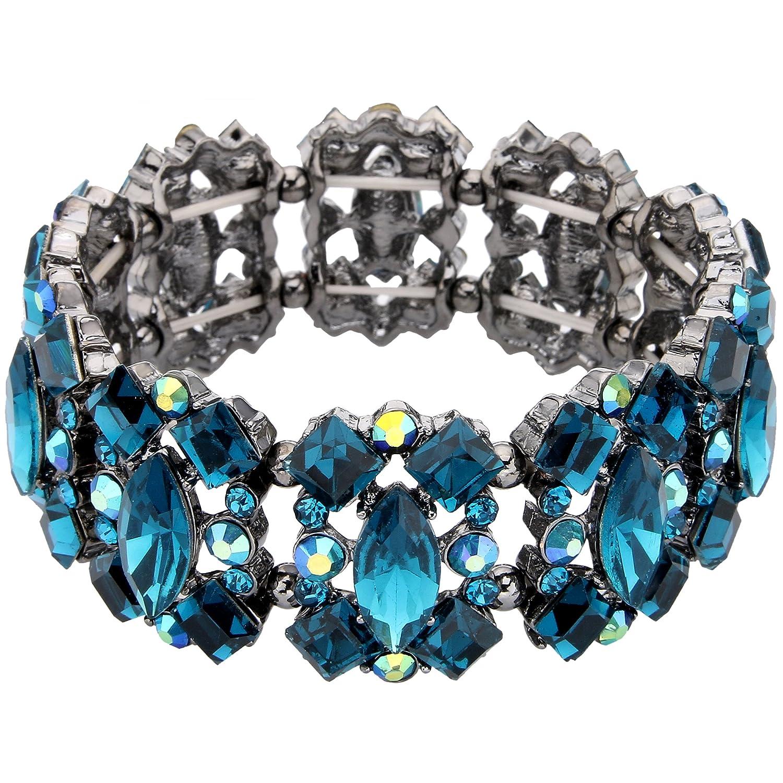 EVER FAITH Women's Crystal Vintage Style Elegant Bridal Elastic Stretch Bracelet N07916-2A