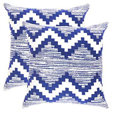 TreeWool Throw Pillowcase Ikat Chevron Accent Pure Cotton Decorative Cushion Cover (18 x 18 Inches / 45 x 45 cm; Navy Blue) - Pack of 2