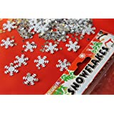 100x 'Snowflakes' Elegant Christmas Table Confetti with mini stars - 2/3 Table Spread - Xmas Parties/Frozen Kids Party TABLES SCATTER DECORATION
