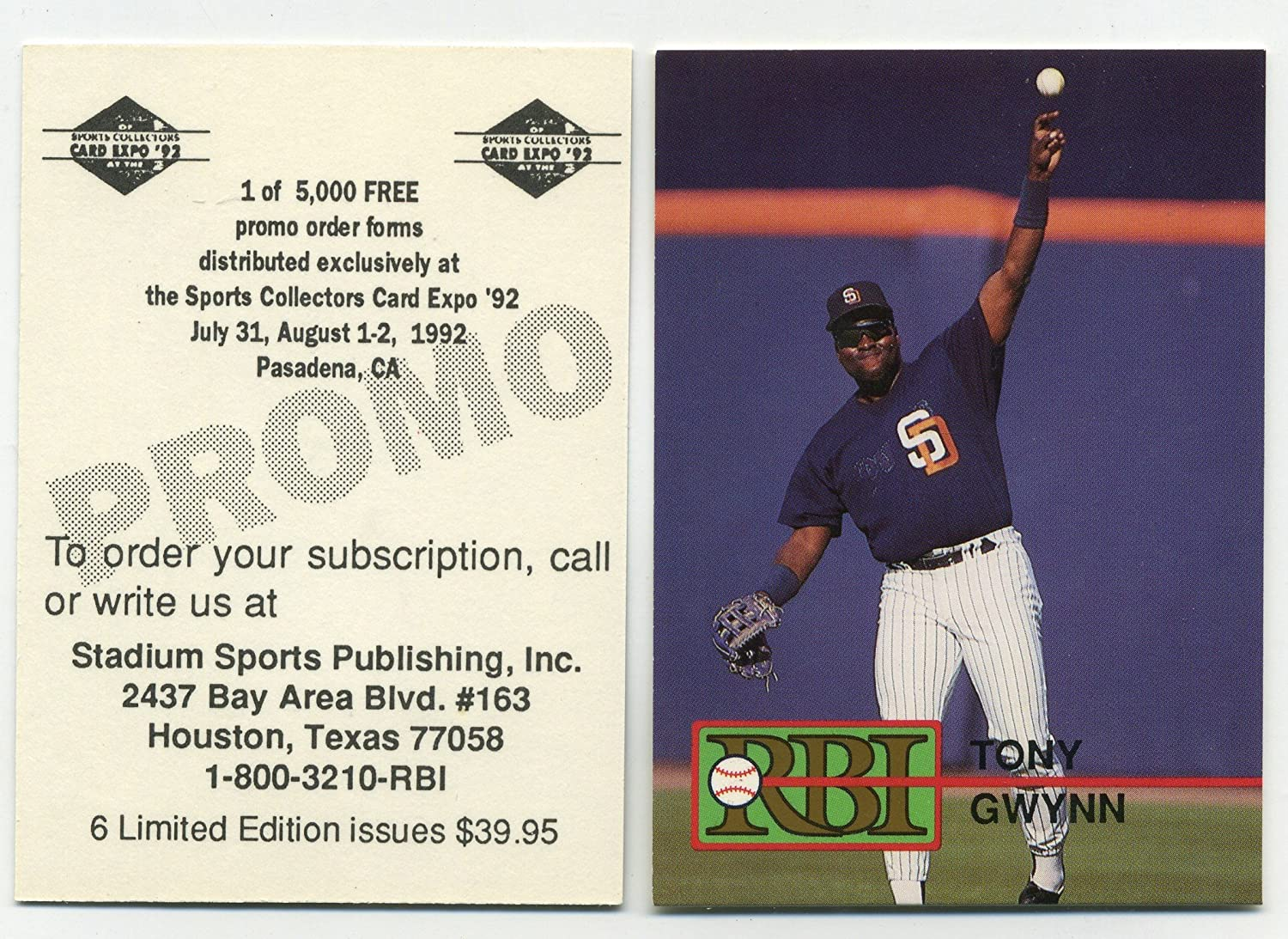 Amazoncom Tony Gwynn 1992 Rbi Baseball Card Gold