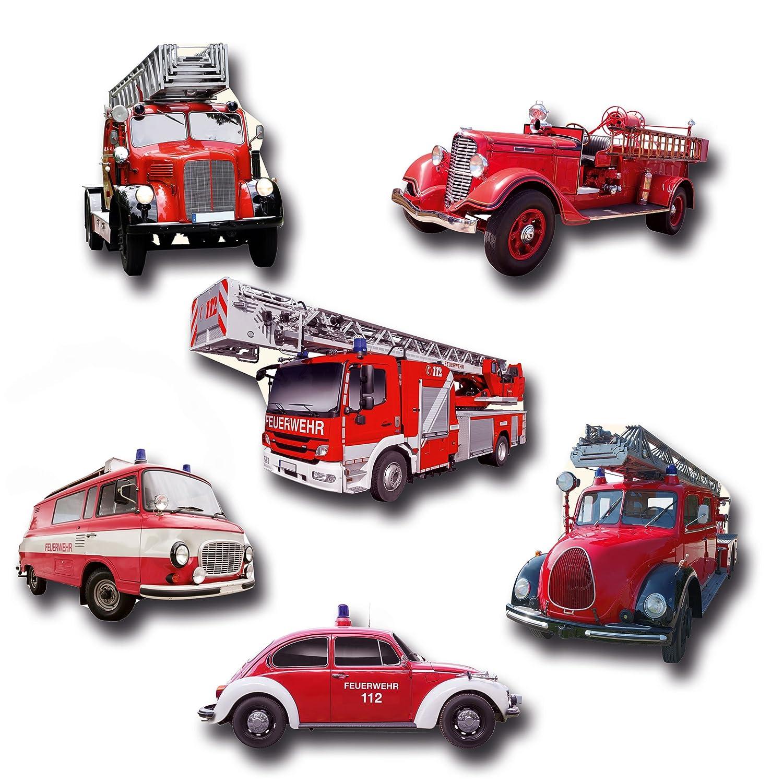 GUMA Magneticum Feuerwehr Kühlschrankmagnete 6er Set Feuerwehrautos Magnete Geschenke
