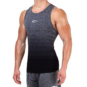 SMILODOX Stringer Hombres | Seamless - Camiseta muscular con estampado para deporte, Gym fitness y