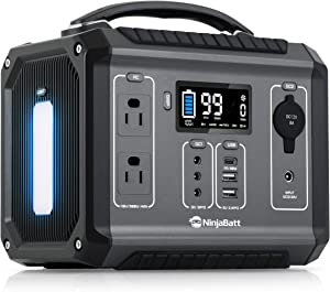 NinjaBatt Portable Power Station 280Wh Backup Lithium Battery, 110V/300W Pure Sine Wave AC Outlets, 60W PD 3.0 USB-C & 2 USB Ports, 4 X 12V DC & LED Flashlight